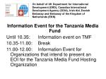 Information Event for the Tanzania Media Fund Until 10.35:Information event on TMF