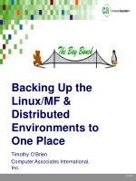 Backing Up the Linux/MF & Distributed Environments to One Place