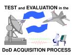 TEST and EVALUATION in the DoD ACQUISITION PROCESS