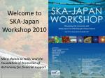 Welcome to  SKA-Japan  Workshop 2010