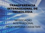 TRANSFERÊNCIA INTERNACIONAL DE TECNOLOGIA