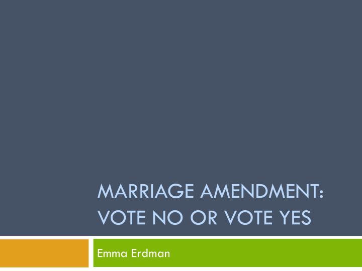 marriage amendment vote no or vote yes n.