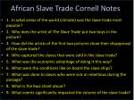 African Slave Trade Cornell Notes