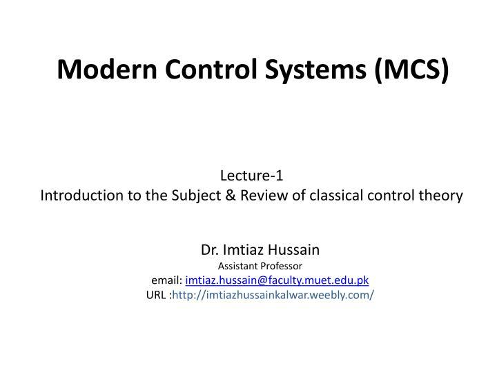 modern control systems mcs n.