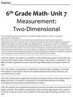 Name:_______________________________ 6 th Grade Math- Unit 7 Measurement: Two-Dimensional