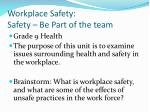 Workplace Safety: Safety – Be Part of the team