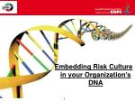 Embedding Risk Culture in your Organization's DNA