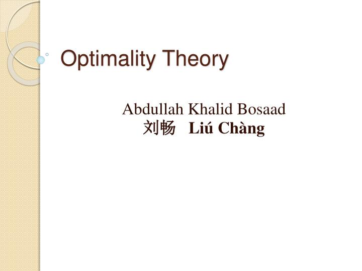 optimality theory n.
