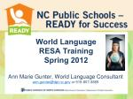 World Language RESA Training Spring 2012