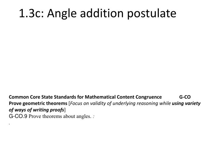 1 3c angle addition postulate n.