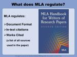 What does MLA regulate?