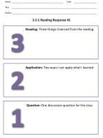 3-2-1 Reading Response #1
