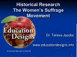 Historical Research The Women's Suffrage Movement