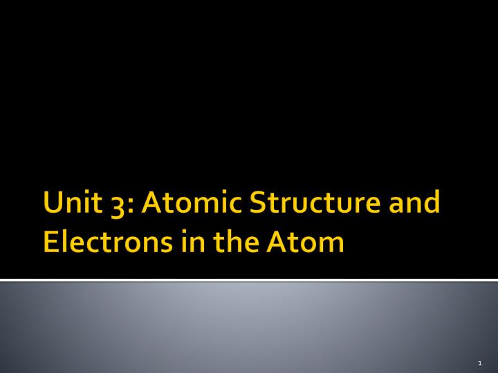 unit 3 atomic structure and electrons in the atom n.