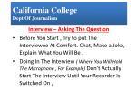 California College Dept  Of Journalism