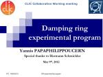 Damping ring experimental program