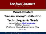 Wind-Related Transmission/Distribution Technologies & Needs