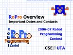 R o P ro  Overview Important Dates and Contacts