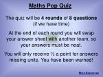 Maths Pop Quiz
