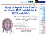 Study of Aspect Ratio Effects on Kinetic MHD Instabilities in NSTX and DIII-D