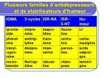 Plusieurs familles d'antidépresseurs  et de stabilisateurs d'humeur