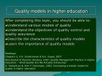 Quality models in higher education