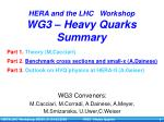 HERA and the LHC Workshop WG3 – Heavy Quarks Summary
