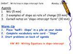 SWBAT… Write lines in slope-intercept form        Monday, 1/11/09