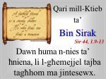 Qari mill-Ktieb ta' Bin Sirak Sir 44, 1.9-13