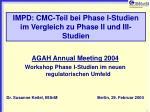 IMPD: CMC-Teil bei Phase I-Studien im Vergleich zu Phase II und III-Studien