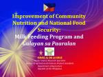 Improvement of Community Nutrition and National Food Security: