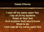 I will cast of my cares upon You I will cast all my cares upon You