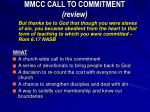 MMCC CALL TO COMMITMENT (review)