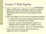 Lecture 17 Path Algebra