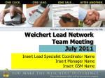 Weichert Lead Network Team Meeting July 2011