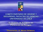 COMITÉ PARITARIO DE HIGIENE Y SEGURIDAD, FACULTAD DE CIENCIAS UNIVERSIDAD DE CHILE