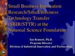 Ian Bennett, Ph.D. Program Director Division of Industrial Innovation and Partnerships