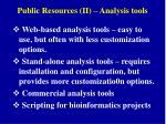 Public Resources (II) – Analysis tools