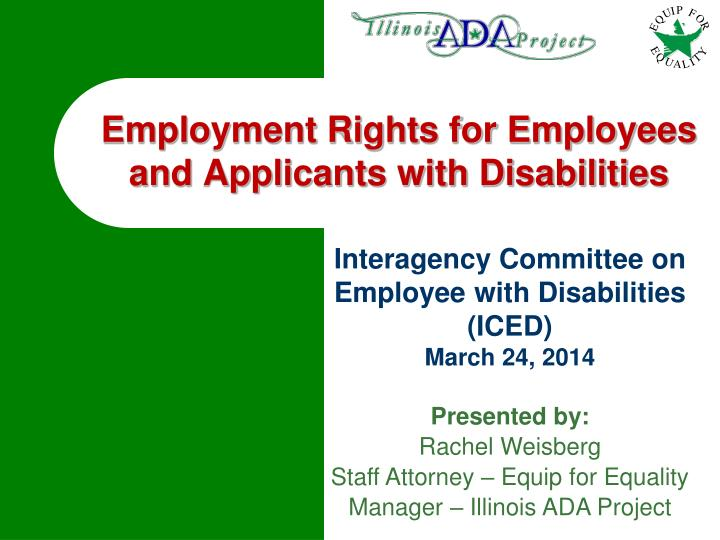 employment rights for employees and applicants with disabilities n.