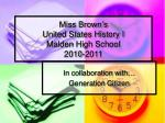 Miss Brown's United States History I Malden High School 2010-2011