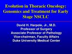 Evolution in Thoracic Oncology: Genomics and Treatment for Early Stage NSCLC