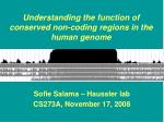 Understanding the function of conserved non-coding regions in the human genome