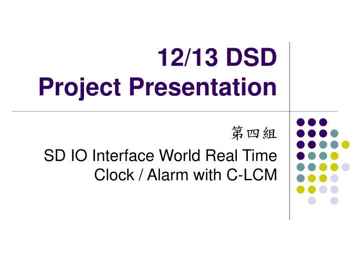 12 13 dsd project presentation n.