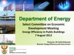 Select Committee on Economic Development Meeting Energy Efficiency in Public Buildings