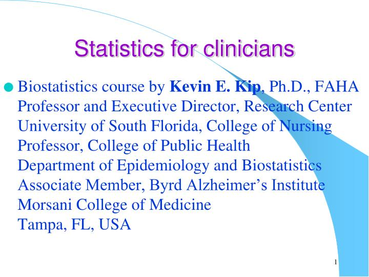 statistics for clinicians n.