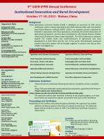 5 th CAER-IFPRI Annual Conference Institutional Innovation and Rural Development