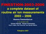 FINESTION-2003-2006 a complete dataset of routine air ion measurements 2003 – 2006