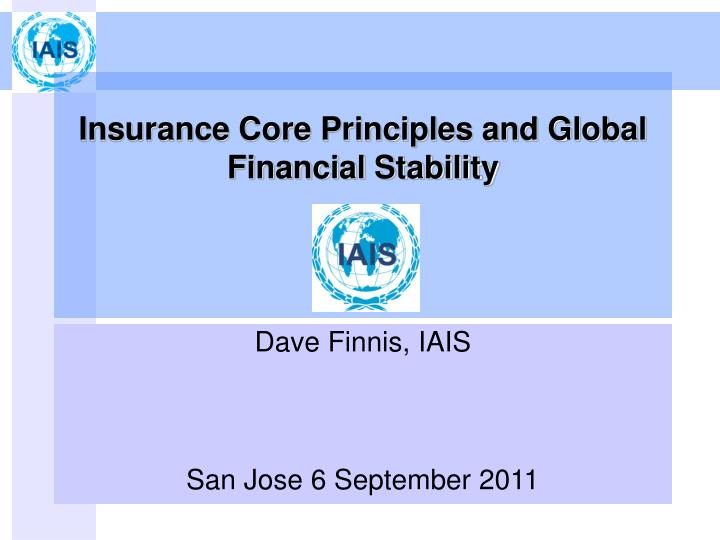 insurance core principles and global financial stability n.