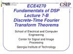 ECE4270 Fundamentals of DSP Lecture 7-B Discrete-Time Fourier Transform Theorems