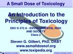 An Introduction to the Principles of Toxicology